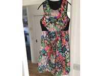 ASOS Maternity Exclusive Scuba Skater Dress in Bright Floral with Blocked Panels