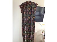 Chinese dress long length in black size 8/10