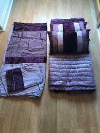 Purple next bedding two next scatter cushions and large throw from dunelm