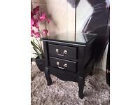 NEW & Ready Assembled New Elysee 2 Drawer Bedside Cabinet In Black