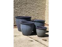 Mixture blue plant pots