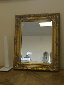 GOLD WALL MIRROR ANTIQUE VINTAGE STYLE DISTRESSED ORNATE FRAME - Size 21