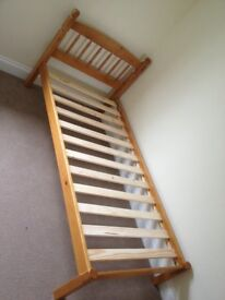 Wooden single bed frame - good condition
