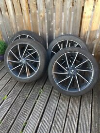 Mazda mx5 alloy wheels and tyres, could do with a refurb, tyres all have a bit tread left on them