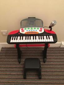 Kids keyboard with microphone and stool