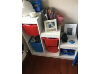 Ikea white shelves and boxes included £50