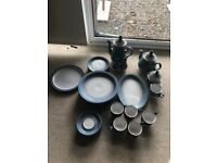 Denby crockery light blue . Tea pots sugar bowl and jug as new however plates well used