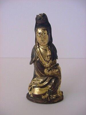 Antique Gaun yin Quan yin Kwan yin Gilded Wood Statue for sale  Dunsmuir