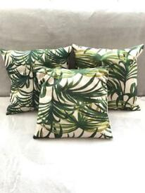 Leaf palm print tropical house of hackney style cushions and covers x 3