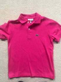 Bright pink Lacoste Polo Shirt Age 8