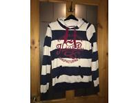 Navy and White Stripped Hoodie Size UK 8