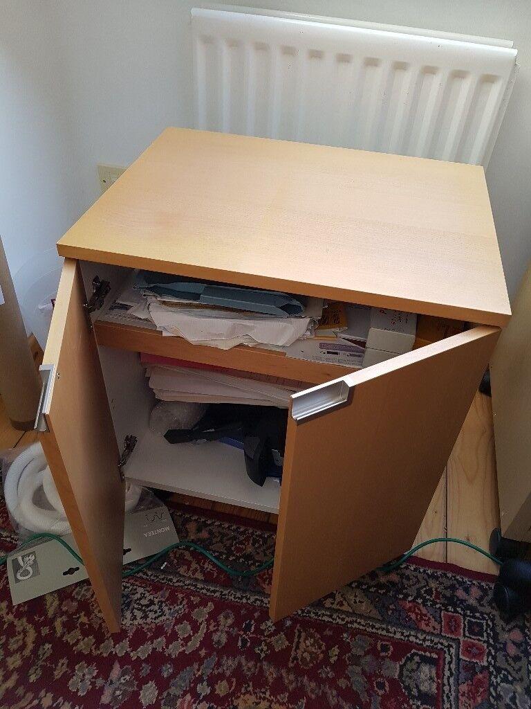 as new computer cupboard station ikea real wood veneer, solid.
