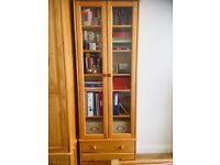 Solid wood bookcase with glass door and drawers 220x80x35