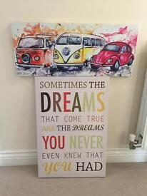 2x colourful canvas camper van and quote
