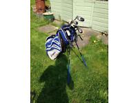 Golf bag and variety of clubs (not a full set)