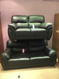 SCS Black Leather Suite - 2+3 Seater Sofas - CAN DELIVER