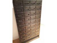 Vintage Industrial Filing Cabinet (Matt Black) 36 Drawers