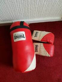 Small 2ft Londsdale boxing bag and gloves