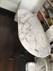 Beautiful marble table on cast iron stand