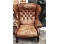 Leather wing back armchair