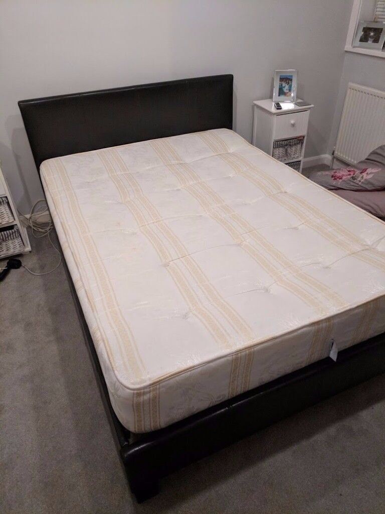 Double bed and mattress for sale - faux leather