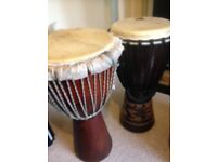 2 large djembe African drums