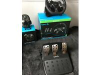 Logitech G920 Gaming Steering Wheel + Pedals + Gear Stick Bundle