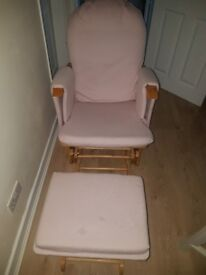 Pink rockong chair and stool