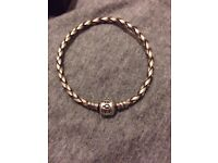 Pandora Woven Leather Bracelet- Grey/Silver