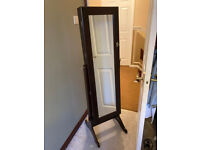 Freestanding full-length cheval mirror and jewellery cabinet