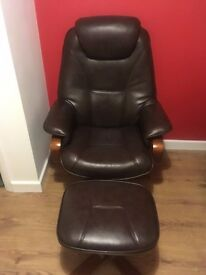 Leather Swivel Reclining Gaming Armchair With Footstool