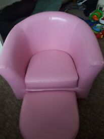 Pink kids sofa and foot rest