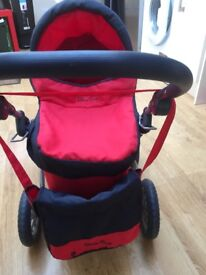 Silver Cross red & black dolls pram and change bag