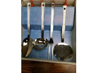 Vintage 70s 4 piece matching stainless steel kitchen utensils