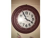 Splendid Brand New Extra Large Deep Case Ridge Porthole Wall Clock - Burgundy