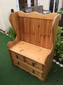 Hand made wooden bench seat and storage furniture