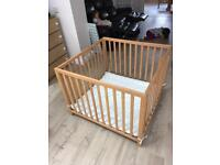 Square wooden baby playpen