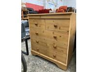 Pine effect chest pain f drawers approx 79cm wide depth 41cm height 88cm