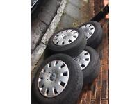 VW T5 wheels tyres nuts and covers