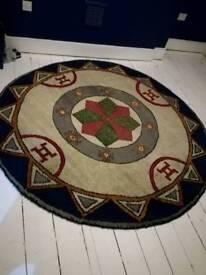 Large Vintage round Aztec wool burber rug