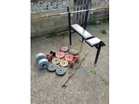 80kgs in weights 5 bars and a bench