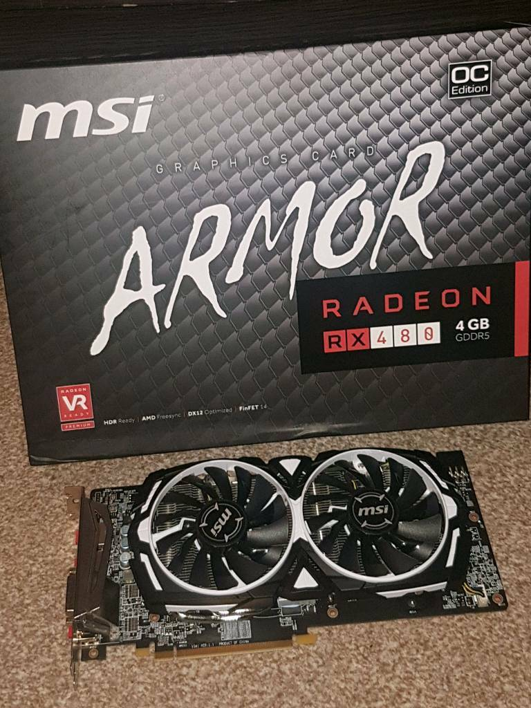 MSI ARMOR Rx480 4gb graphics card