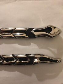 Silver snake belt metal