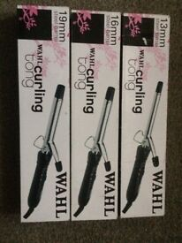 Wahl hair curling tongs ( various sizes , brand new )