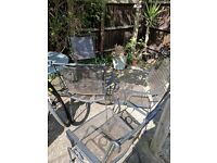 Iron garden table with 4 chairs