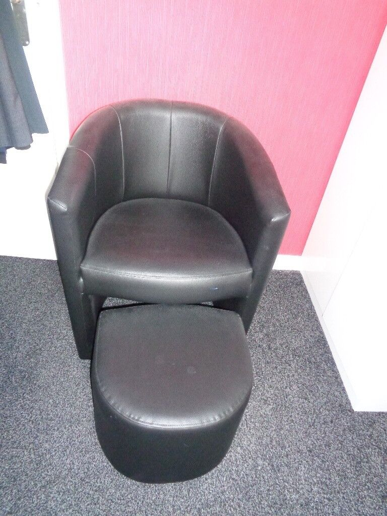 Black Faux Leather Tub Chair With Foot Stool In Guiseley