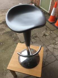 Grey and chrome adjustable height bar stool