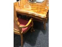 Long extendable dining table and eight lovely chairs
