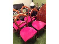 Fancy Dining Table & 4 Reupholstered Dining Chairs