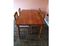 Table and 4 chairs, pine wood, good condition